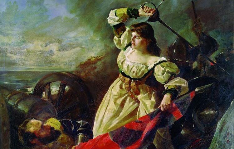 Pintura que representa la lucha de María Pita en La Coruna